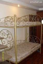 Кованая кровать,  двухярусная,  авторской ручной работы