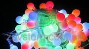 LED Гирлянда нить ШАРИКИ 5 м,  прозрачный кабель 100Led