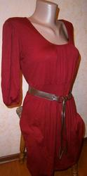 Платье туника спелая вишня
